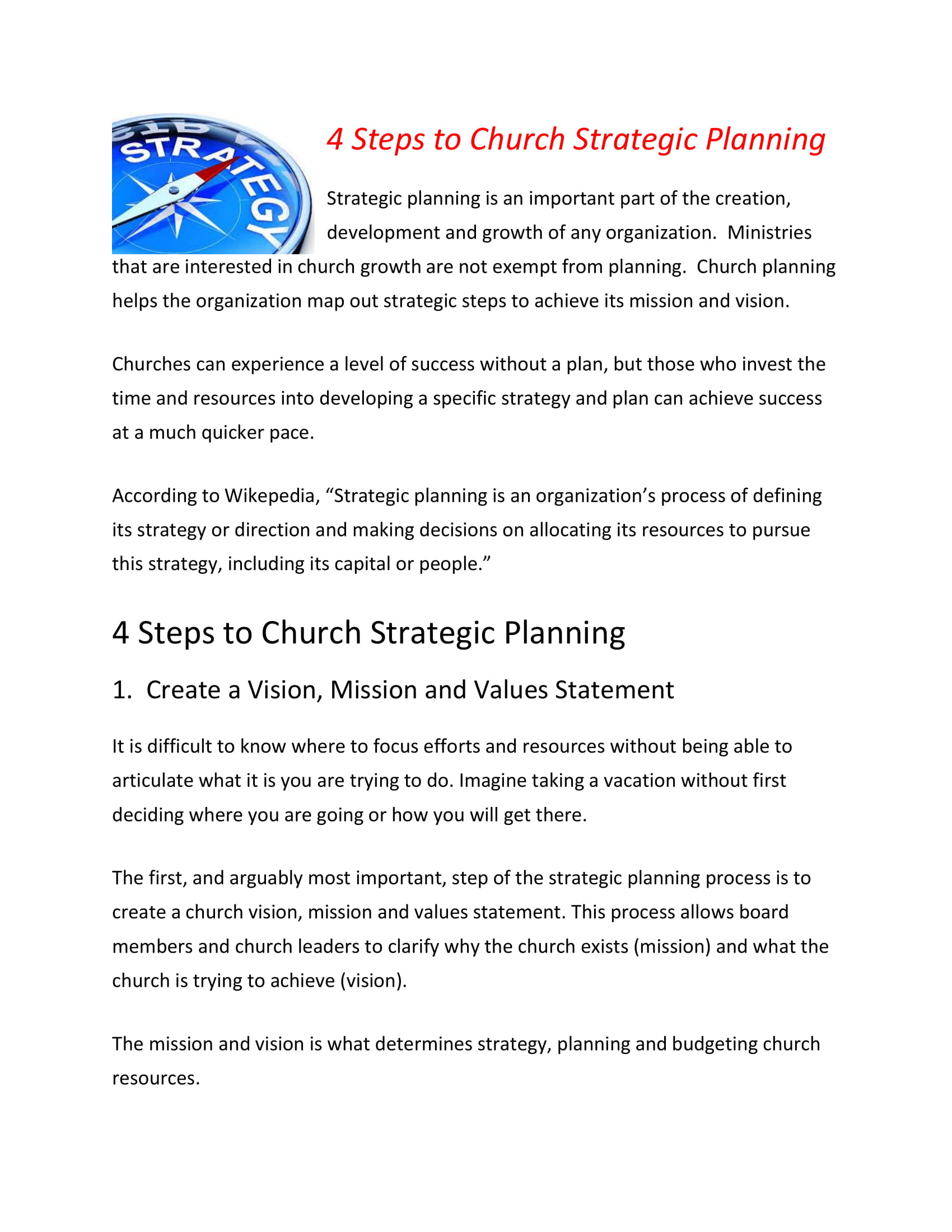 church strategic planning steps example 1