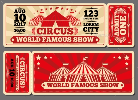 circus magic show entrance carnival ticket example