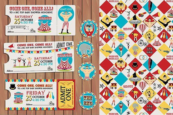 circus themed birthday invitation ticket