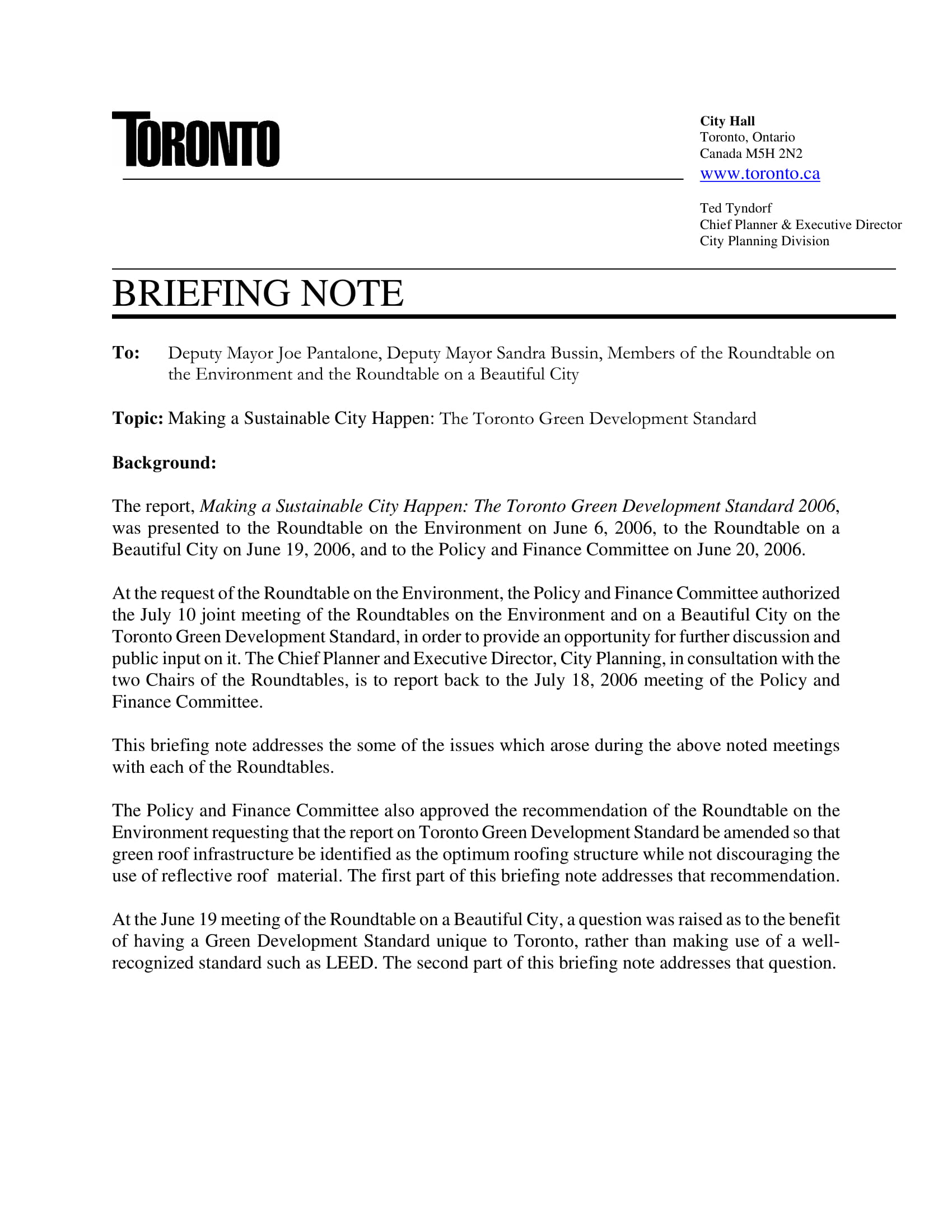 city hall briefing note example