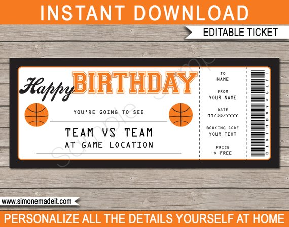 clean basketball ticket invitation example
