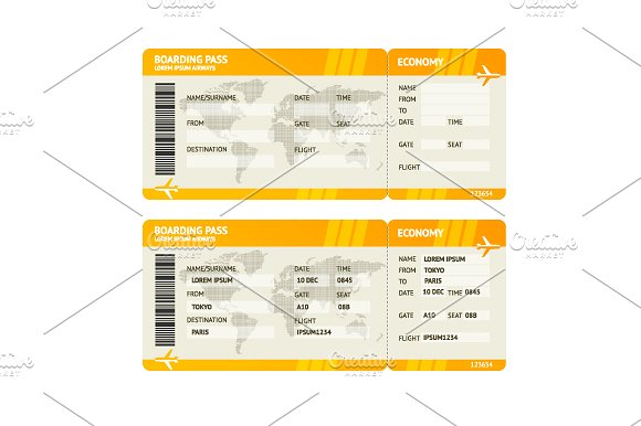clean plane boarding ticket example