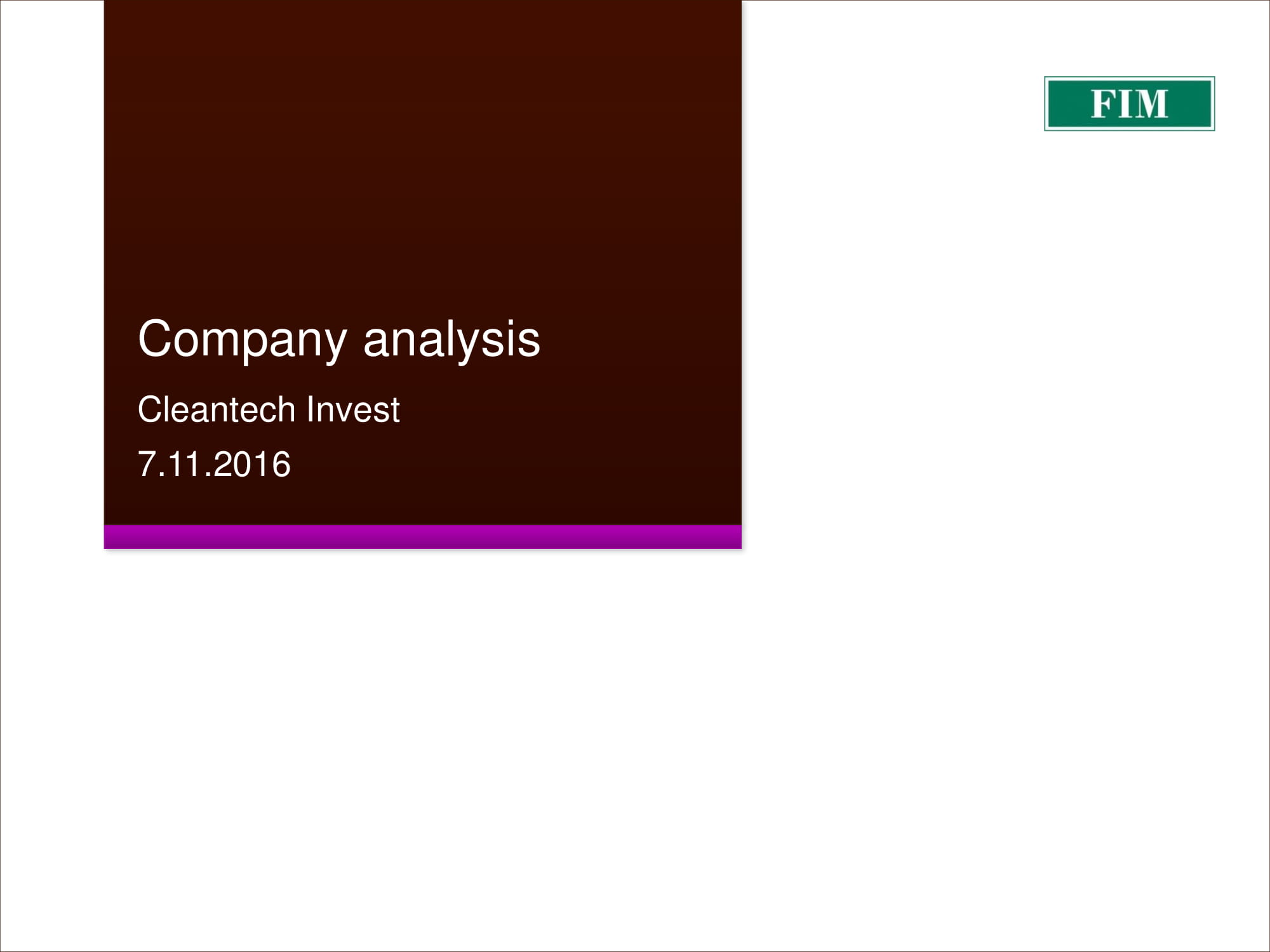 cleantech invest company analysis example