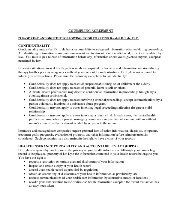 client confidentiality counseling agreement example