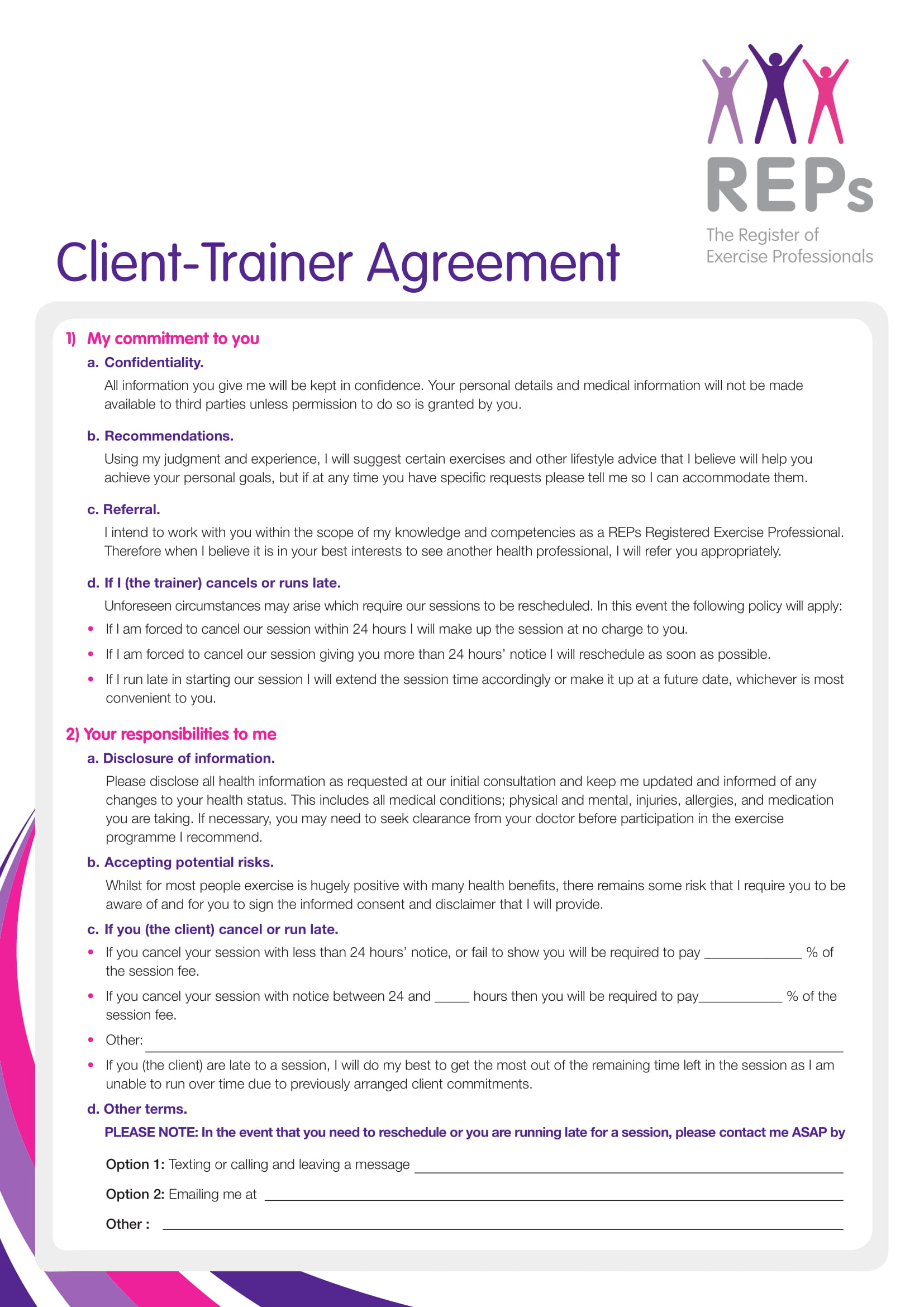 client trainer confidentiality agreement example