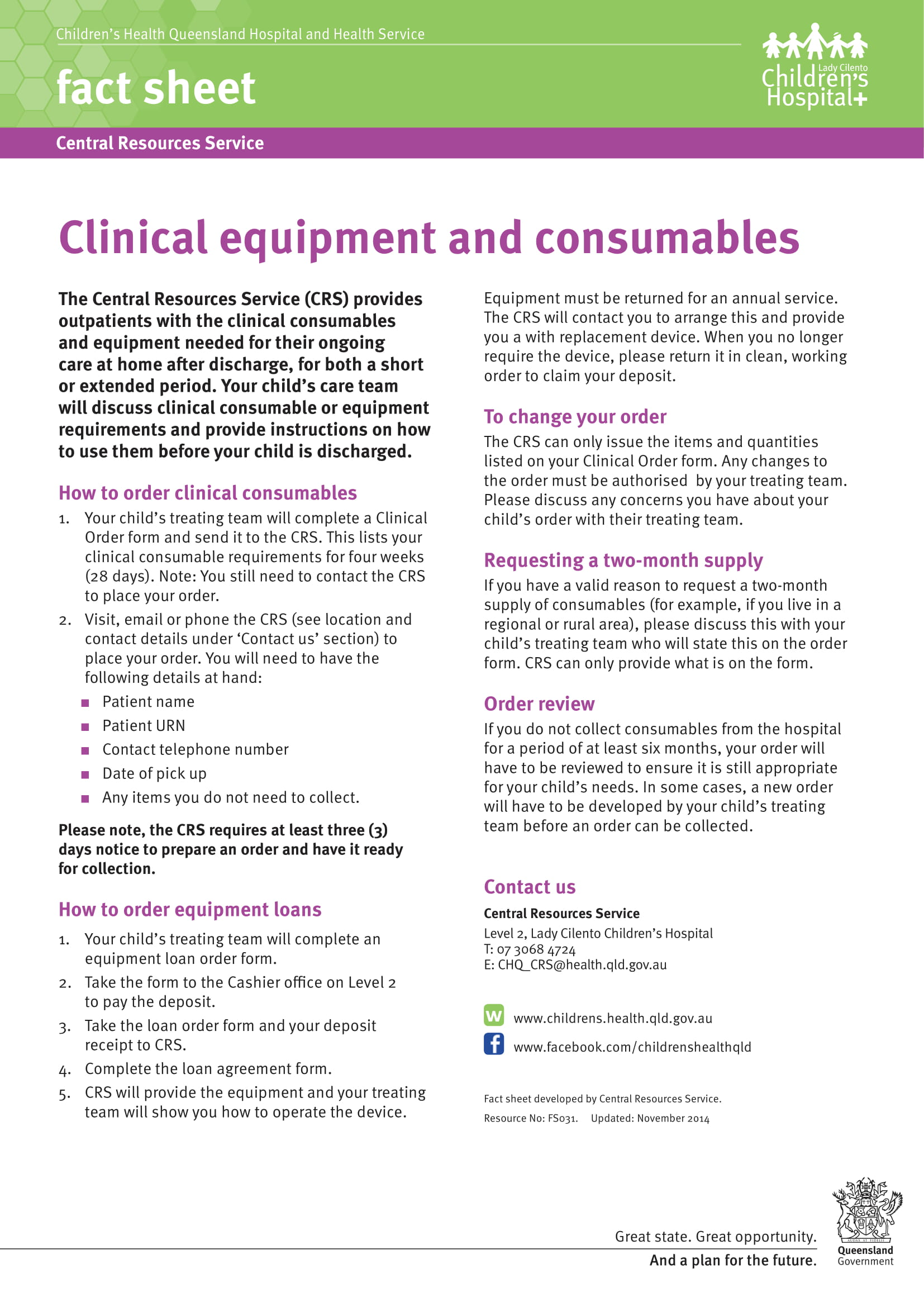 clinical equipment and consumables example 1