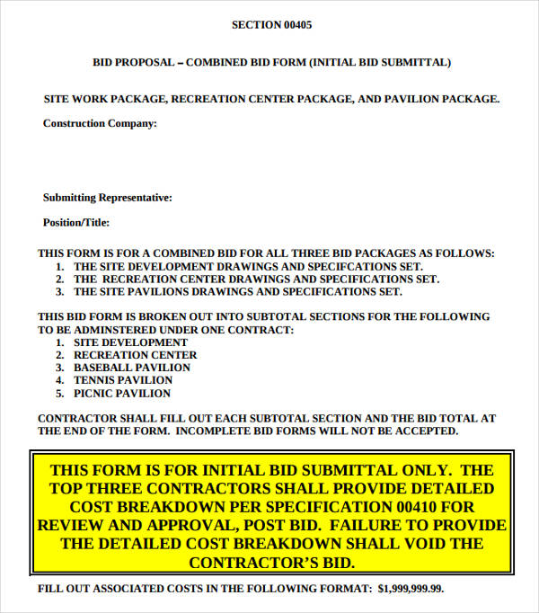 combined contractor bid proposal form example