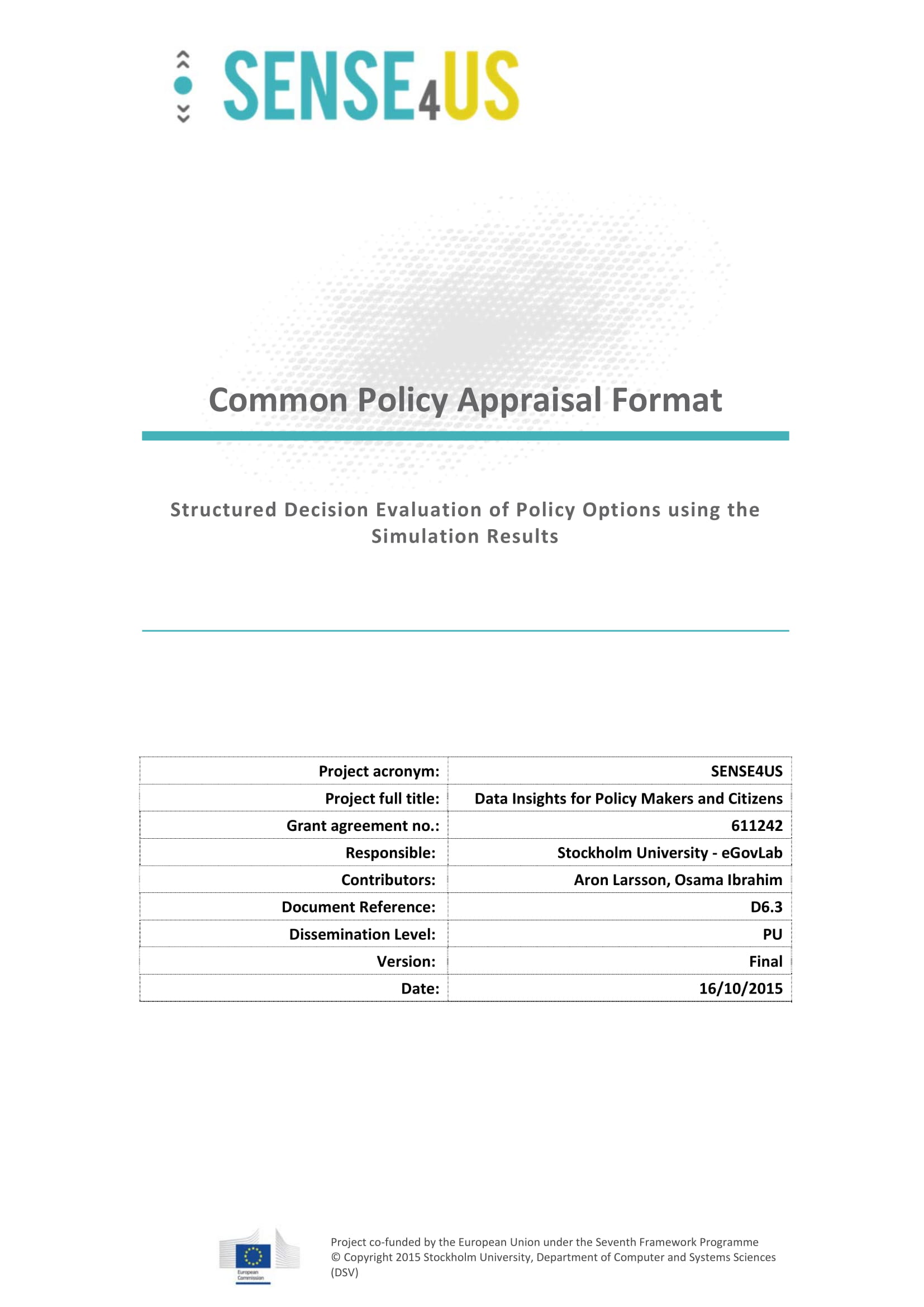 common policy appraisal and analysis format example 01