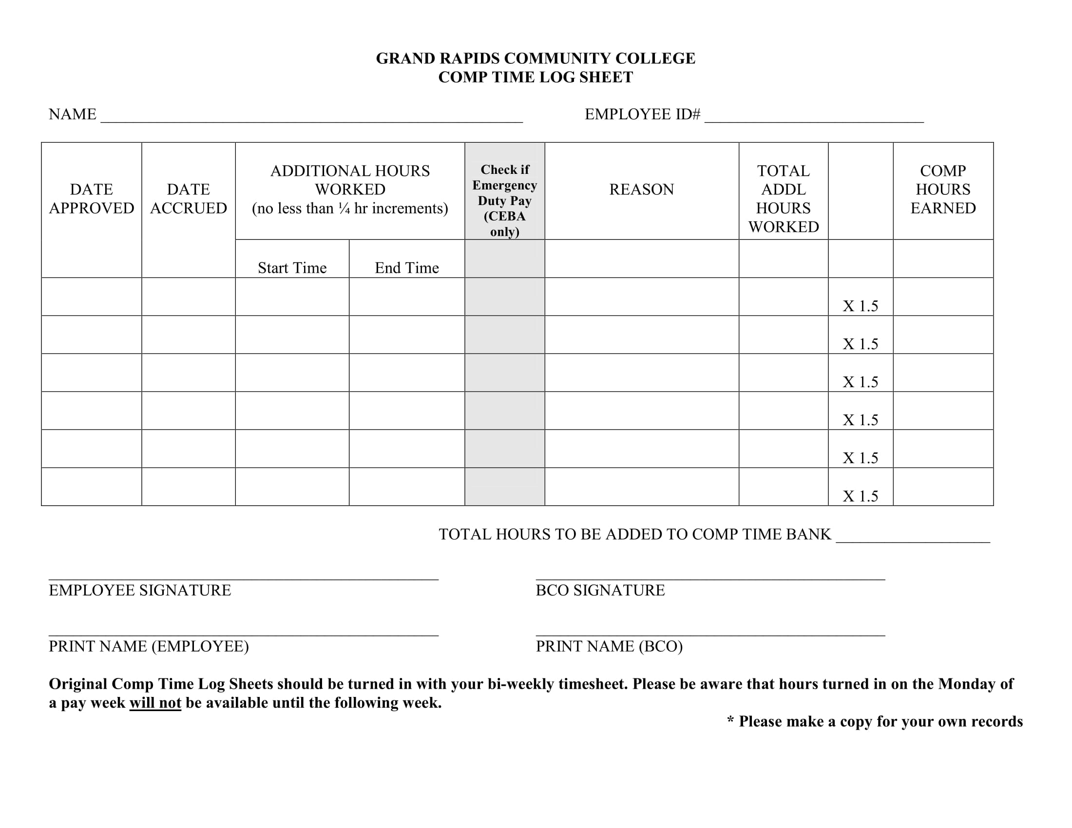 comp time log sheet example