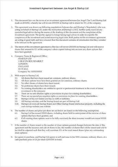 company equity investment agreement example