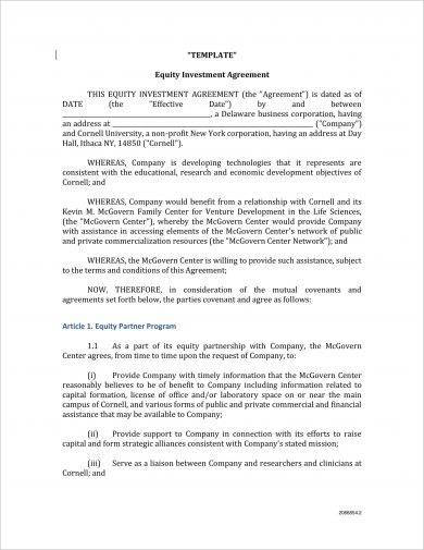 comprehensive equity investment agreement example