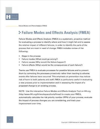 comprehensive failure modes and effects analysis example