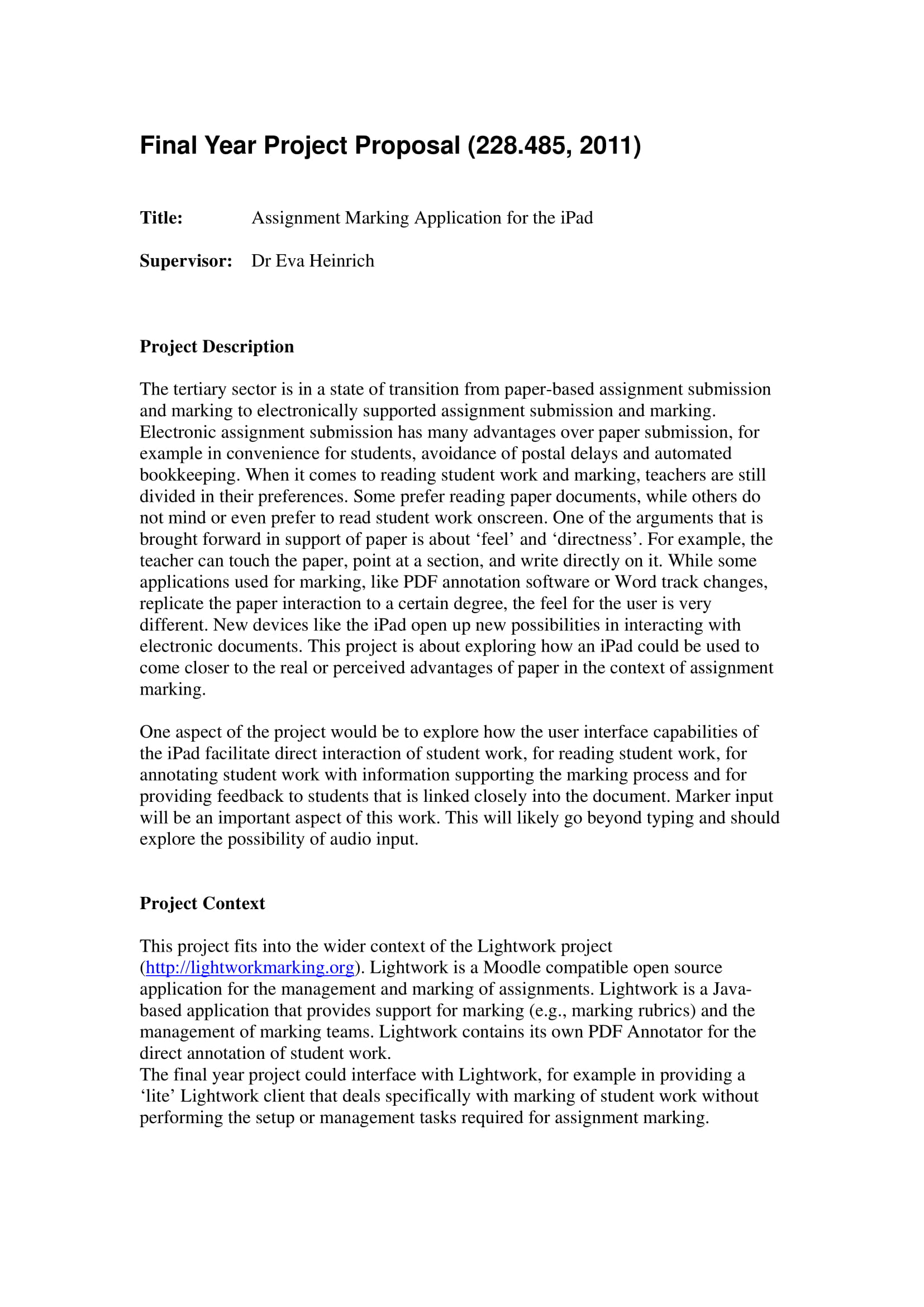comprehensive final year project proposal example 1