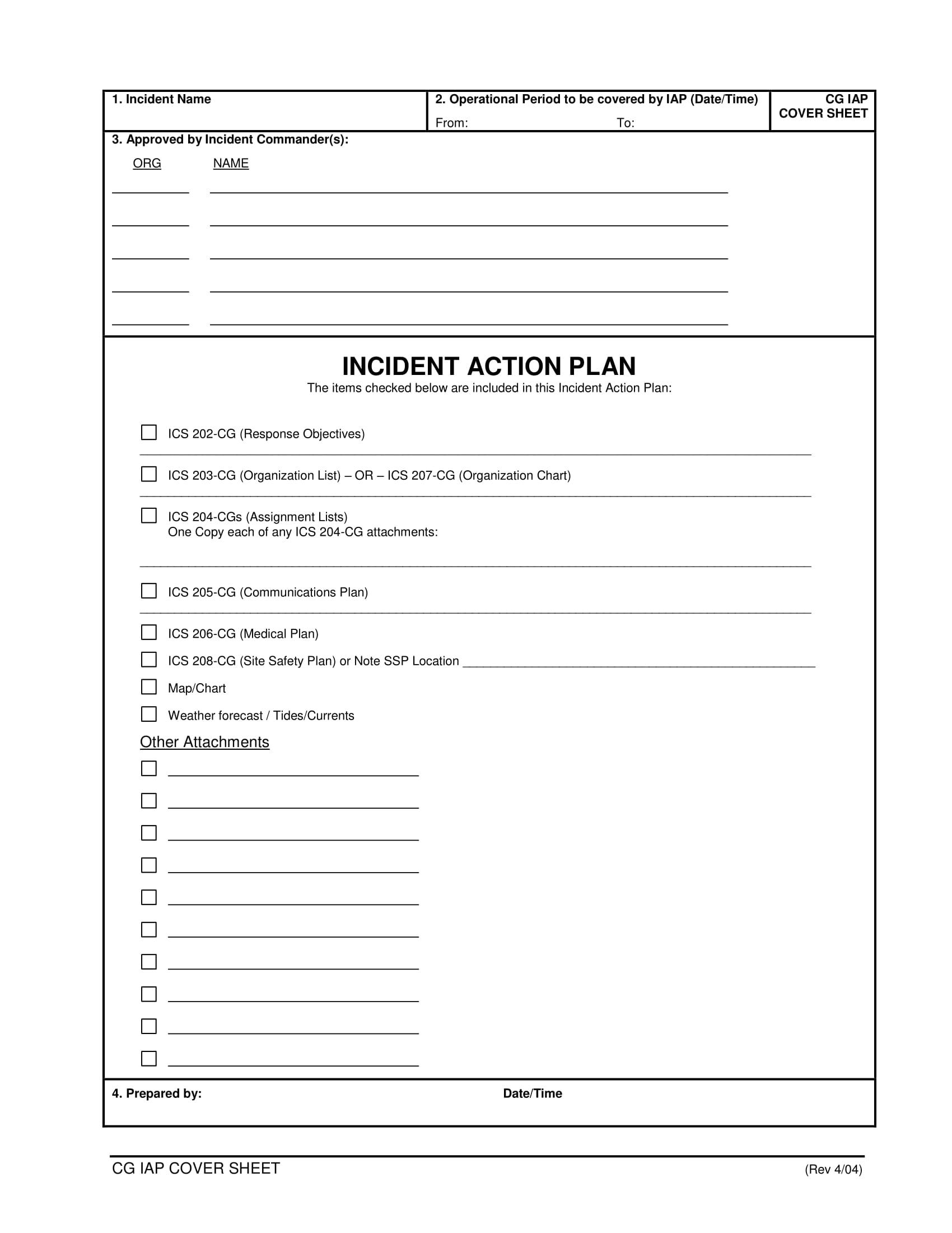 comprehensive incident action plan example