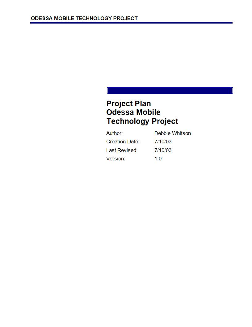 comprehensive simple project plan example