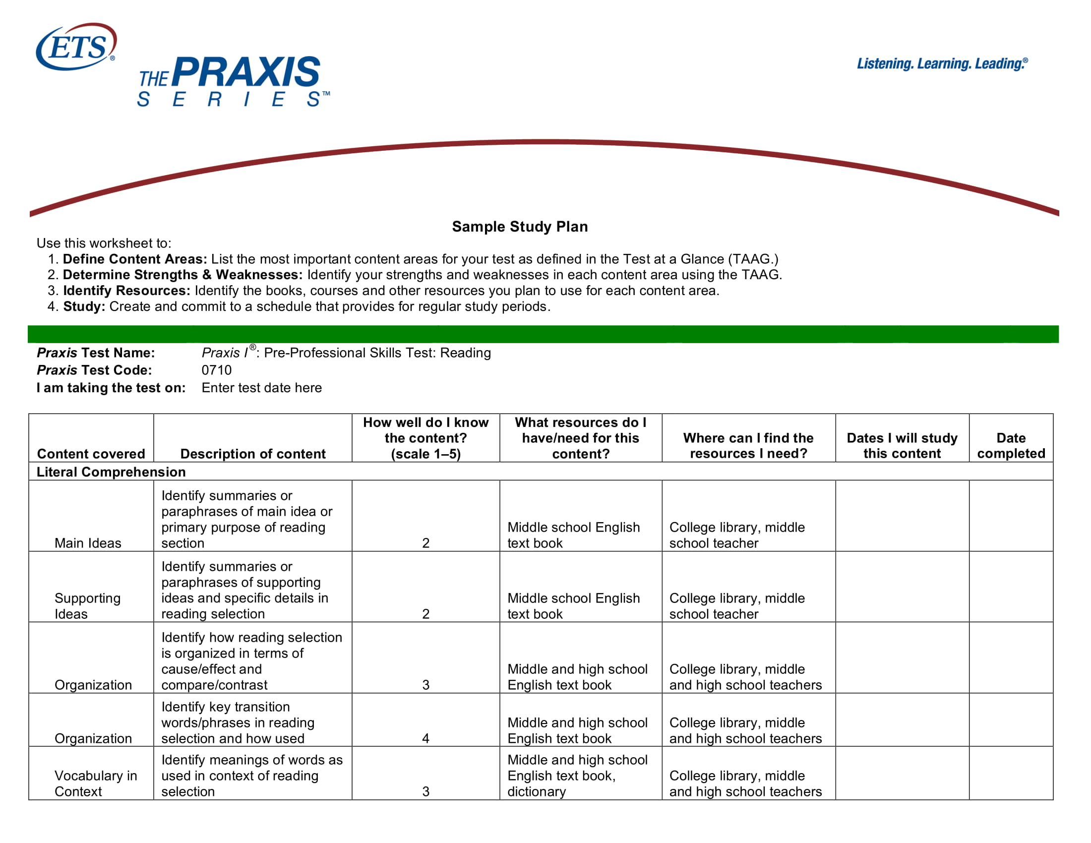 9  study plan templates and examples