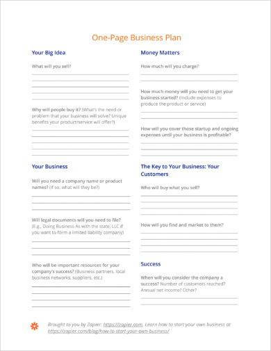 concise one page action plan example2