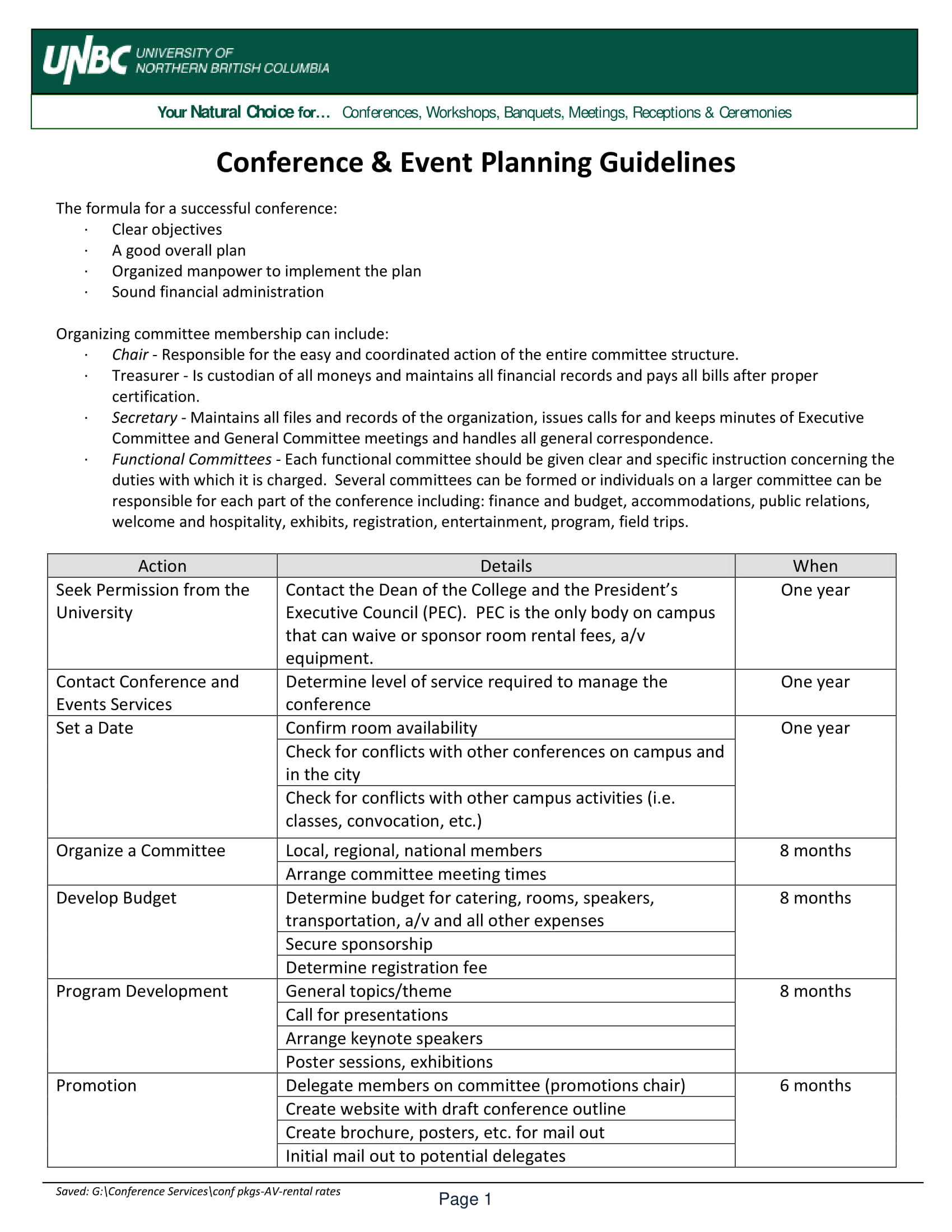 conference event planning guidelines example