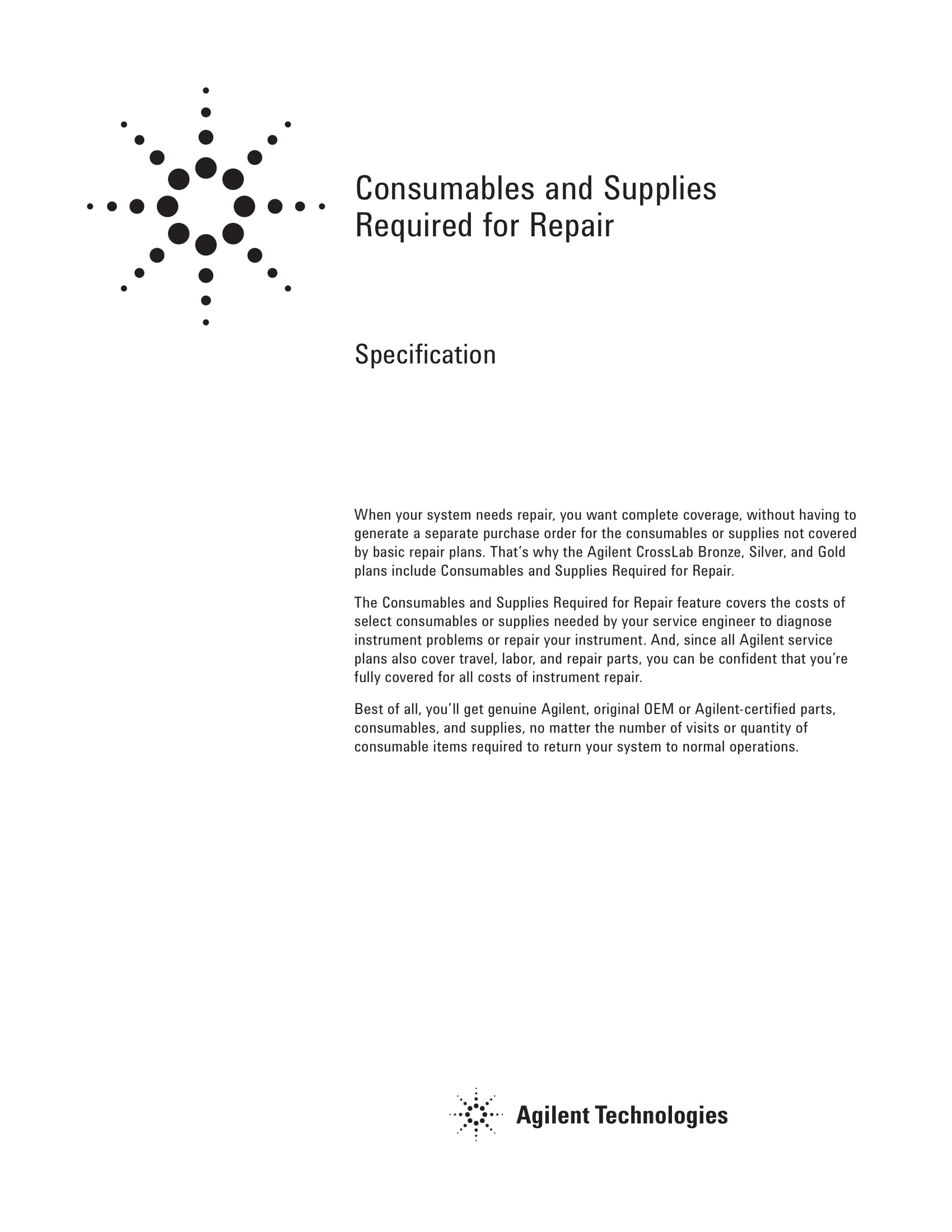 consumables and supplies required for repair example 1