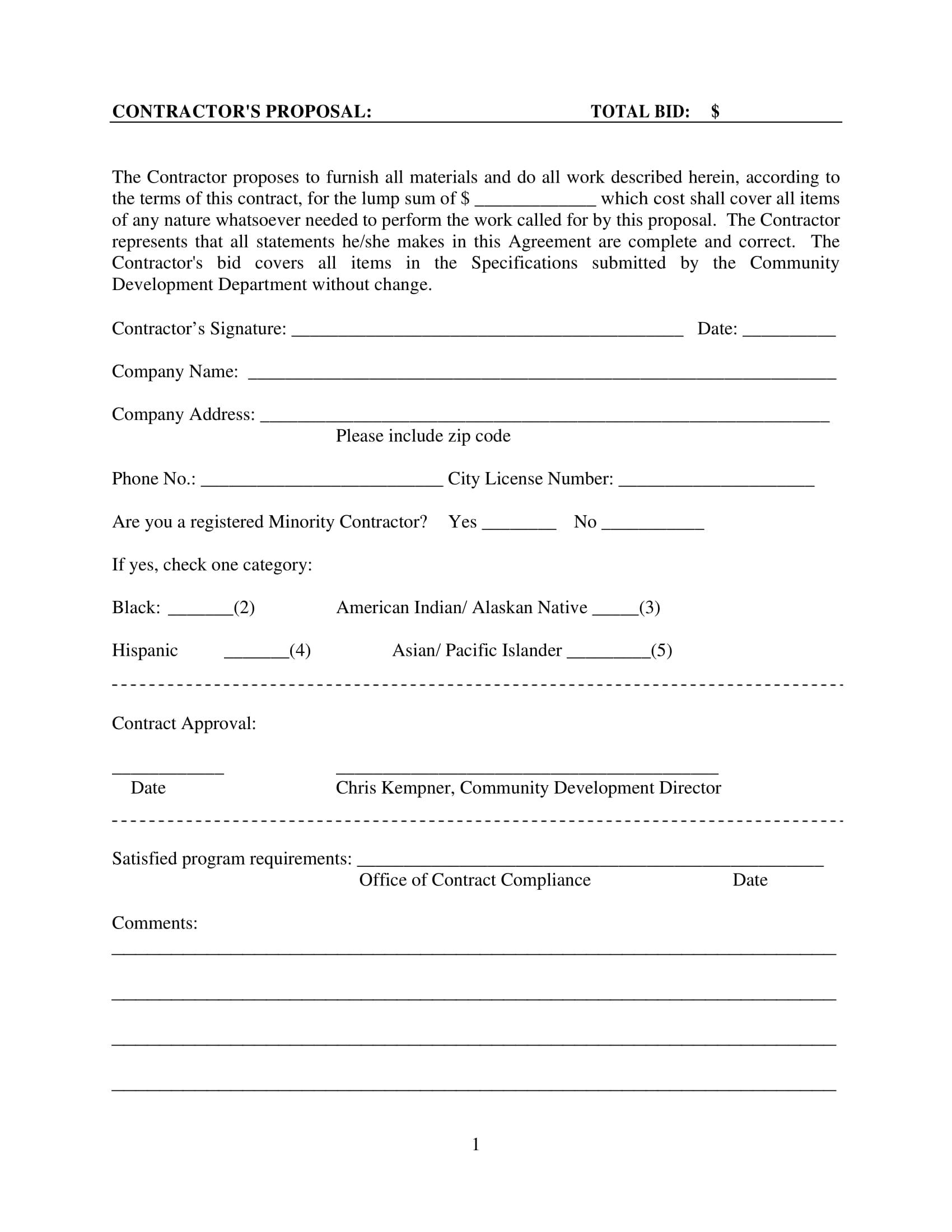 contractors bid proposal