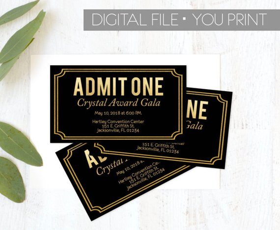 corporate event show time ticket example