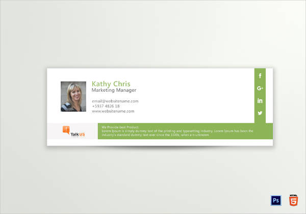 corporate marketing manager email signature example