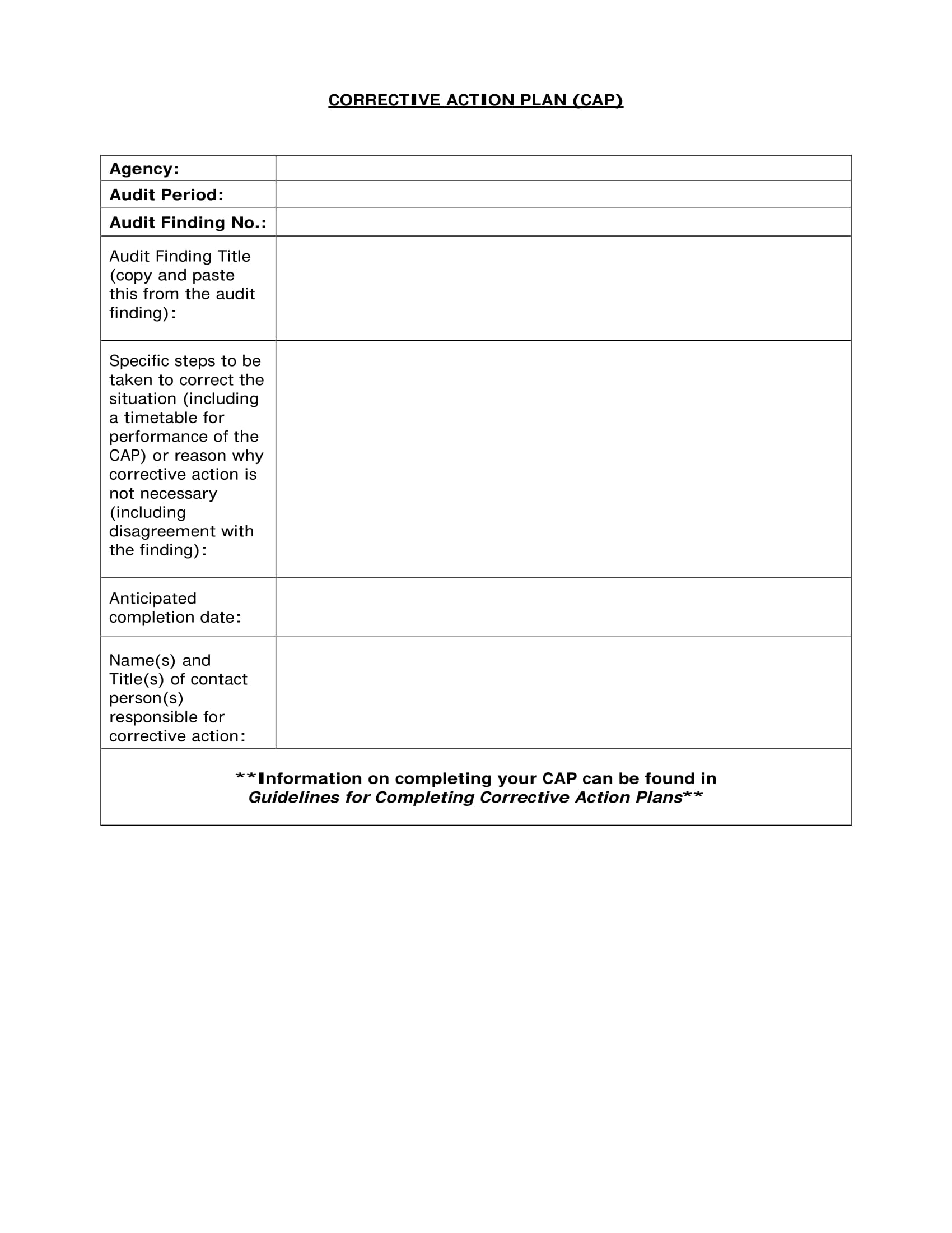 corrective action plan format example 1