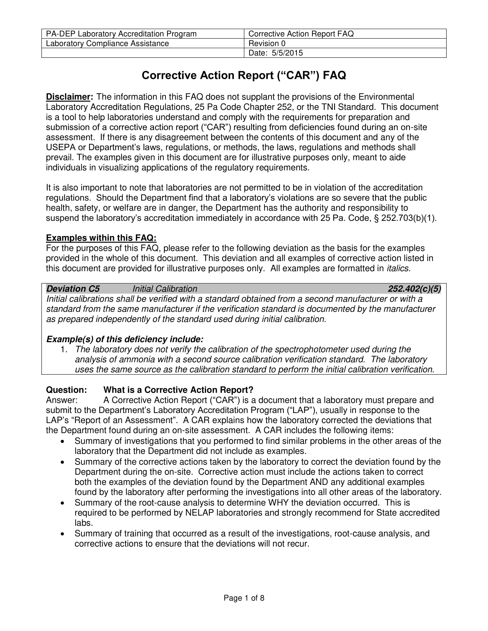 corrective action report guidelines example 1