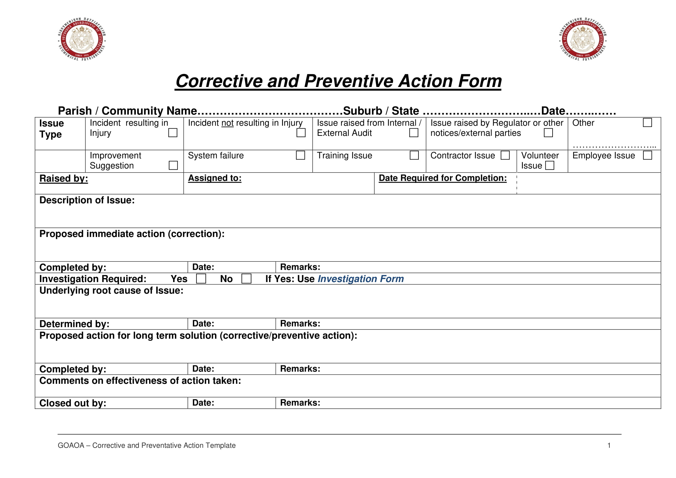corrective and preventive action report form example 1