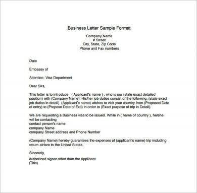correspondence business letter sample format