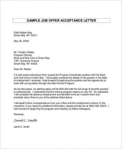 correspondence job offer acceptance letter example