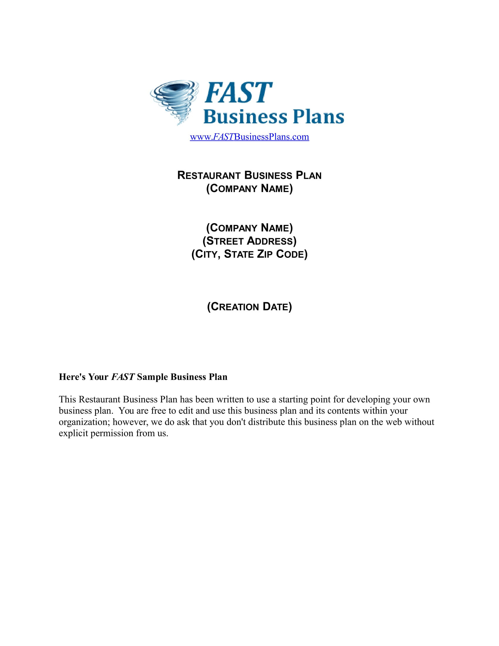 cover page restaurant operational plan example