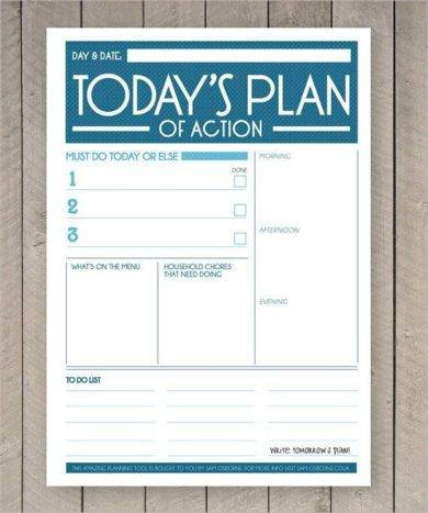creative daily action plan example