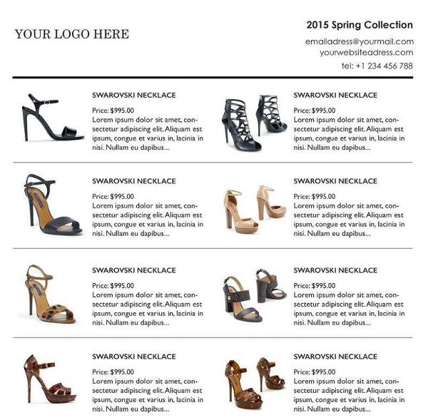 custom line sheet wholesale catalog example