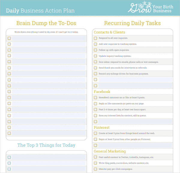 daily business action plan example