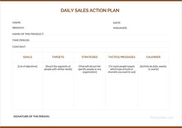 daily sales action plan example