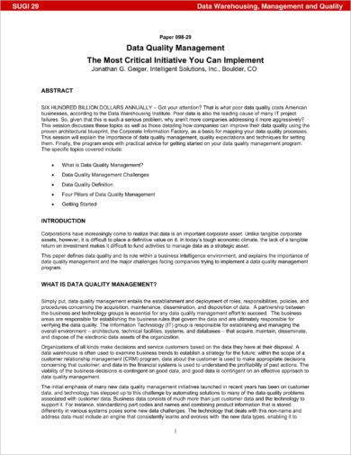 data quality assurance and management plan example