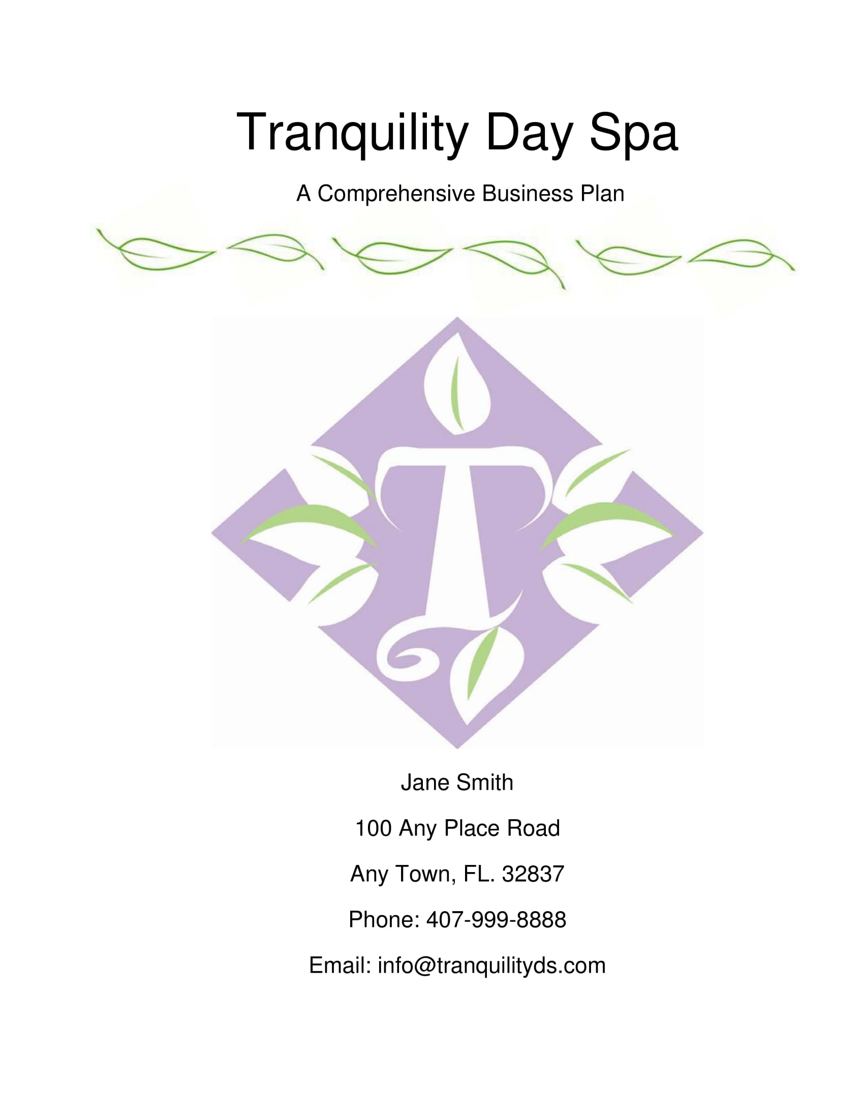 day spa offering massage therapy business plan example 01