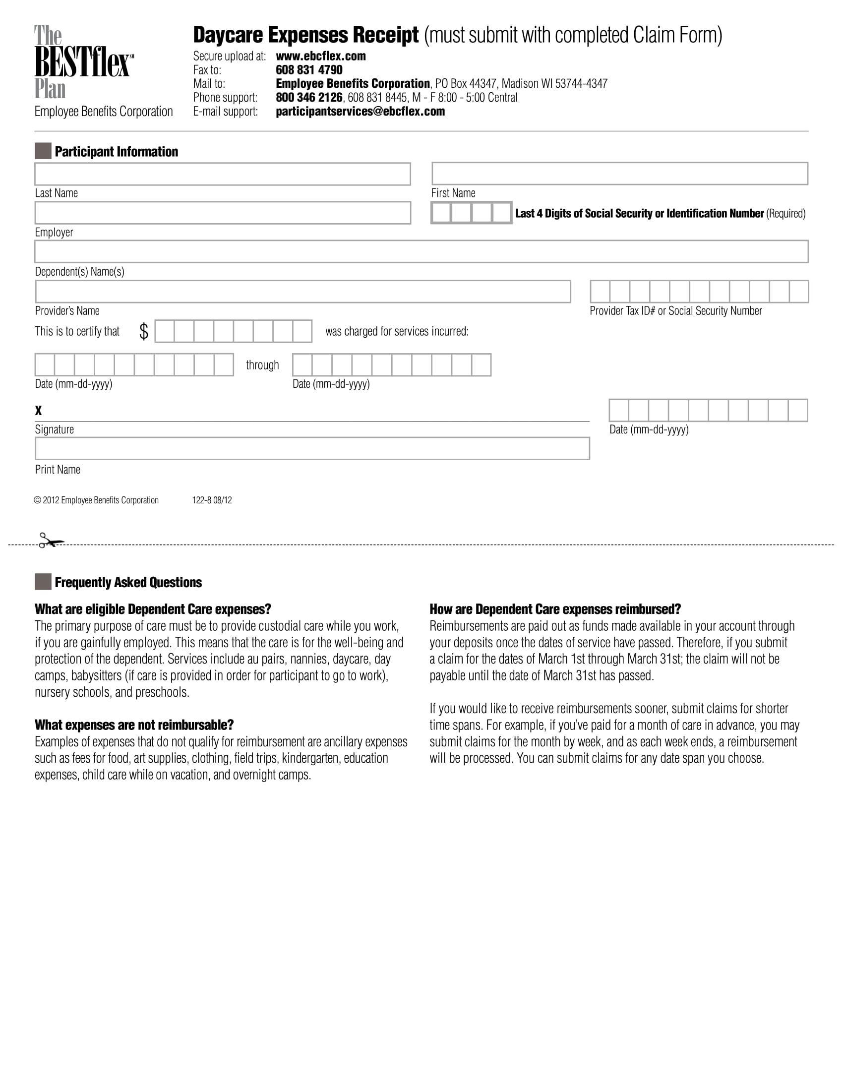 dependent care reimbursement form