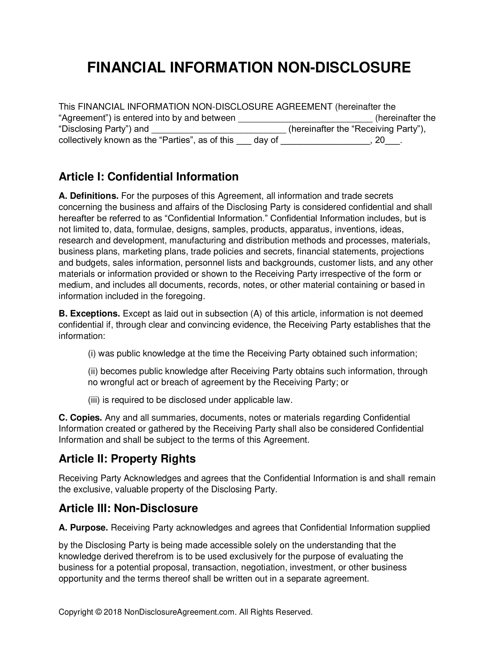 detailed financial confidentiality agreement example