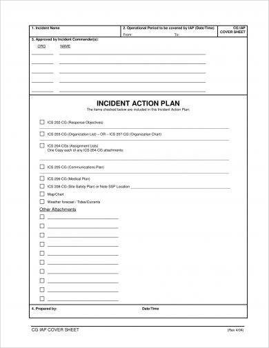 detailed incident action plan example