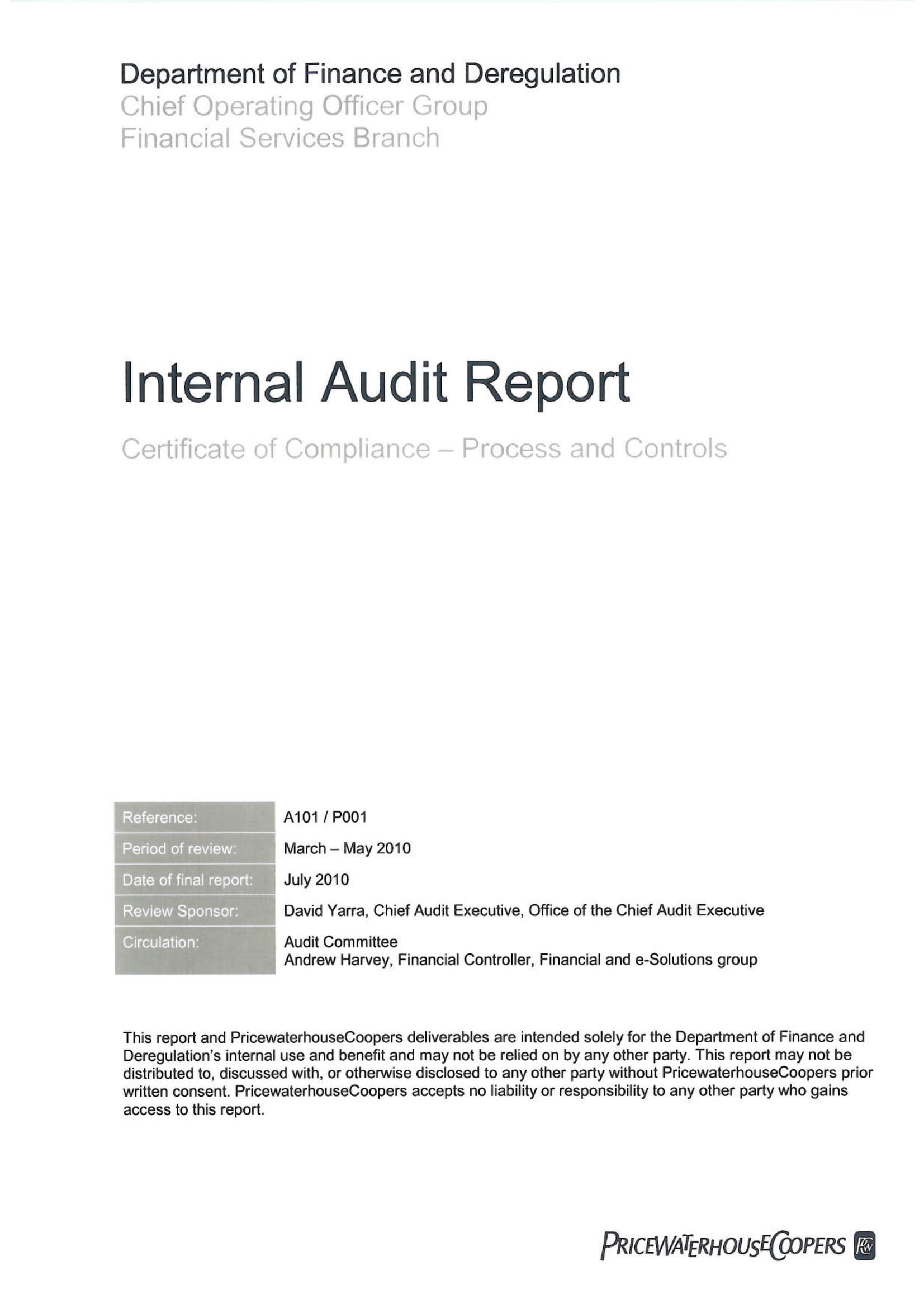 14  internal audit report examples