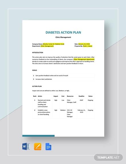 diabetes action plan template