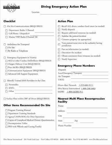 10 printable emergency action plan examples pdf for Padi emergency action plan template