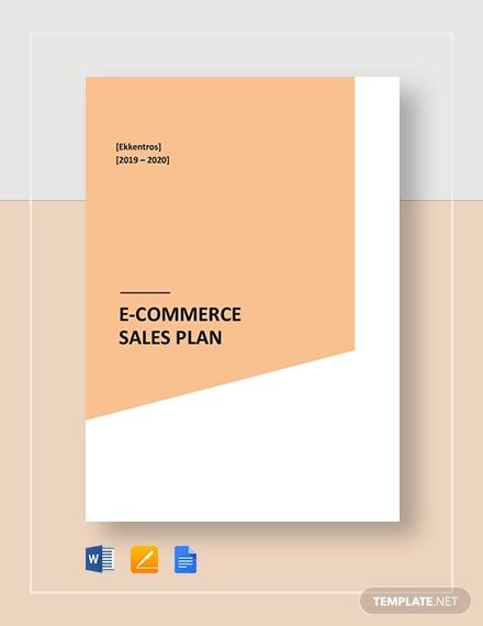e commerce sales plan template