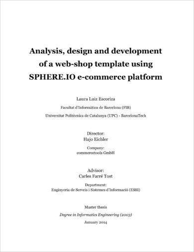 e commerce web shop project plan example