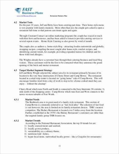 easy business plan template for small catering example
