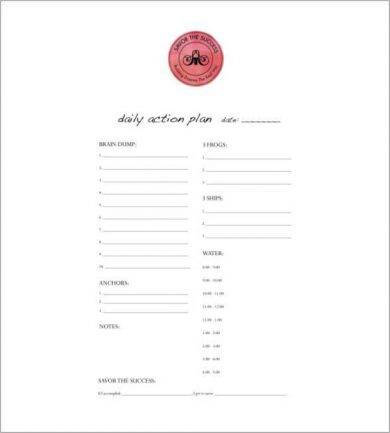 editable daily action plan example