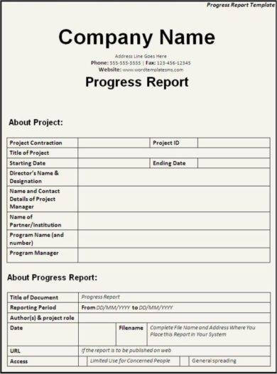 editable new business project report example1