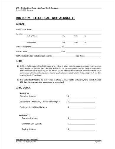 9 construction bid form examples pdf